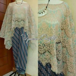 Setelan Baju Kebaya Cape Brukat dan Rok Batik Panjang Modern