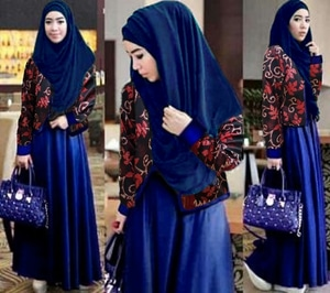 Setelan Hijab Baju Gamis Cardigan 3 in 1 Modis Modern