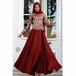 Setelan Hijab Baju Gamis Kombinasi Bahan Brukat Modern