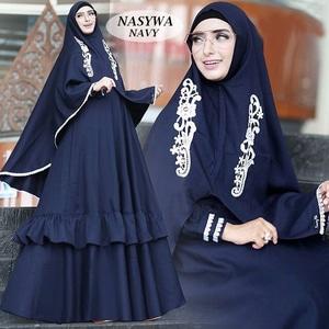 Setelan Hijab Baju Gamis Syari Bordir Modern Model Terbaru