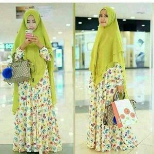 Setelan Hijab Baju Gamis Syari Motif Kupu-kupu Modern