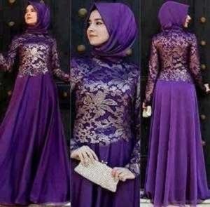 Setelan Hijab Modis Baju Gamis Pesta Kombinasi Brukat
