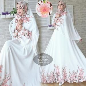 Setelan Hijab Modis Baju Gamis Syari Motif Sakura