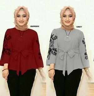 Baju Atasan Wanita Blouse Bordir Lengan Panjang Muslim