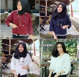 Baju Atasan Wanita Blouse Hijab Pom-pom Model Terbaru