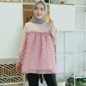 Baju Atasan Wanita Blouse Rubiah Lengan Panjang Muslim