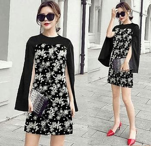 Baju Cape Mini Dress Pendek Motif Batik Model Terbaru