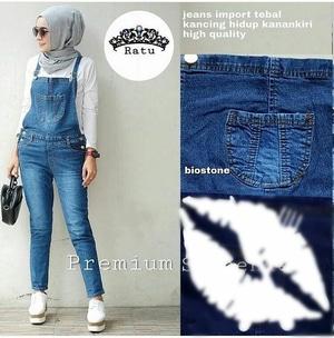 Baju Jumpsuit Celana Kodok Panjang Bahan Jeans Wash