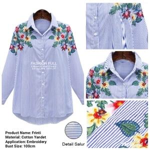 Baju Kemeja Wanita Hem Cewek Garis-garis Bordir