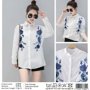 Baju Kemeja Wanita Hem Putih Cewek Lengan Panjang