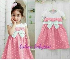 Baju Mini Dress Pendek Anak Perempuan Motif Polkadot