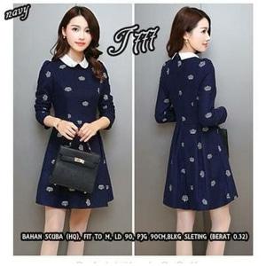 Baju Mini Dress Pendek Lengan Panjang Motif Cantik