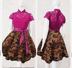 Baju Mini Dress Pendek Motif Batik Kombinasi Brukat