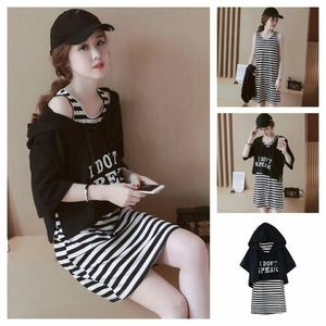Baju Mini Dress Pendek Motif Salur Belang Model Terbaru