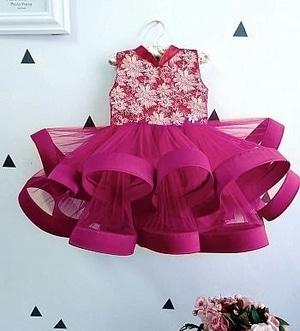 Baju Mini Dress Pendek Pesta Anak Perempuan Kombinasi Tile