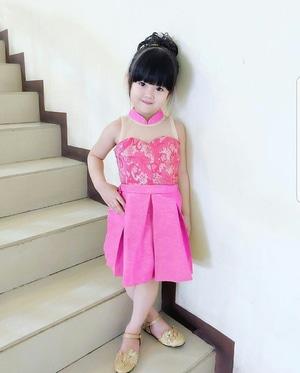 Baju Mini Dress Pendek Pesta Anak Warna Pink Cantik Lucu