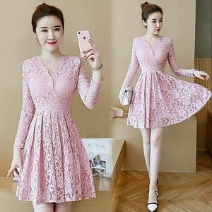Baju Mini Dress Pendek Pesta Bahan Brukat Warna Pink