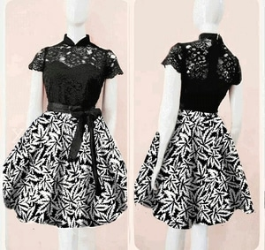 Baju Mini Dress Pendek Pesta Hitam Kombinasi Motif Batik