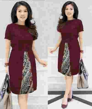 Baju Mini Dress Pendek Pesta Kombinasi Motif Batik Modern