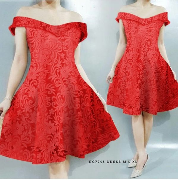 Baju Mini Dress Pendek Pesta Model Sabrina Bahan Brukat