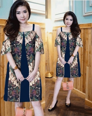 Baju Mini Dress Pendek Pesta Motif Batik Bahu Bolong