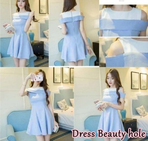 Baju Mini Dress Pendek Sabrina Bahu Bolong Modern