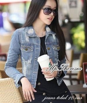 Jaket Wanita Keren Bahan Jeans Sobek Model Terbaru