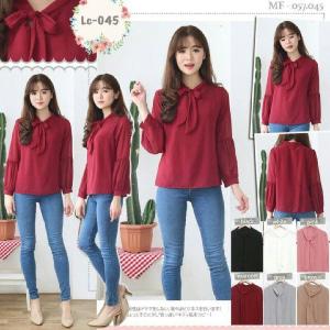 Model Baju Atasan Lengan Panjang Merah Maroon Polos