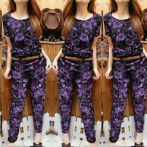 Model Setelan Baju dan Celana Wanita Motif Bunga