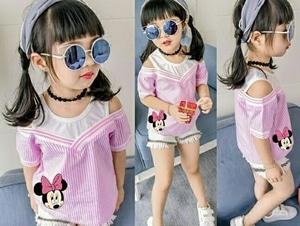 Setelan Baju Kaos dan Celana Pendek Anak Perempuan Modern