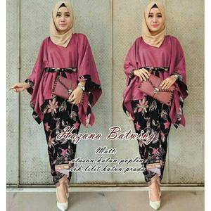 Setelan Baju Kebaya Batwing dan Rok Batik Muslim Panjang