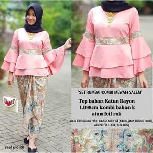 Setelan Baju Kebaya Lengan Terompet dan Rok Batik Muslim