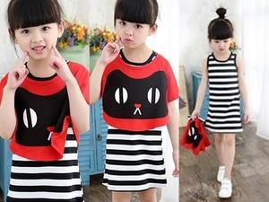 Setelan Baju Mini Dress Pendek Anak Perempuan Motif Belang