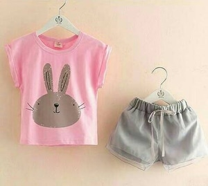 Setelan Baju dan Celana Pendek Anak Perempuan Lucu