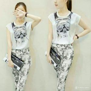 Setelan Baju dan Celana Wanita Motif Warna Putih