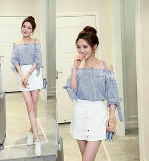 Baju Blouse Sabrina Motif Garis-garis Salur Model Terbaru