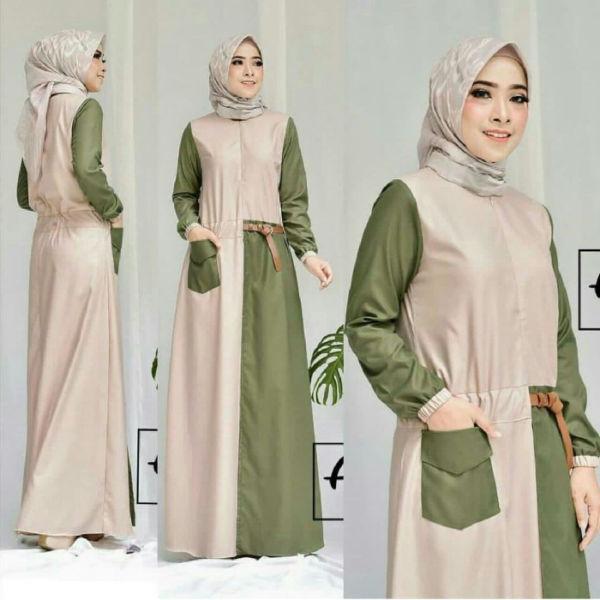 Baju Gamis Long Dress Hijab Warna Kombinasi Modern