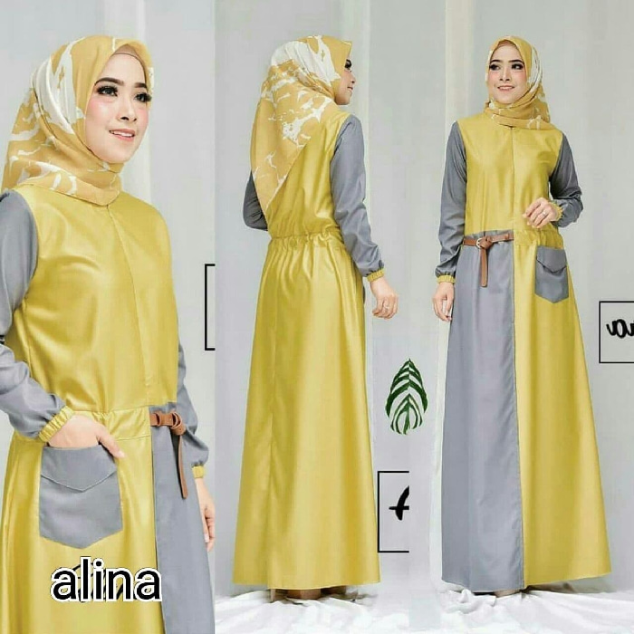 Baju Gamis Long Dress Hijab Warna Kombinasi Modern Ryn Fashion