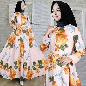 Baju Gamis Maxy Long Dress Muslim Motif Bunga Cantik