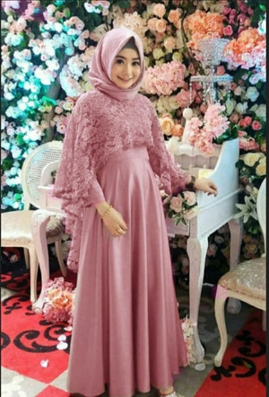 Baju Maxi Long Dress Muslim Gamis Pesta Brukat Modern