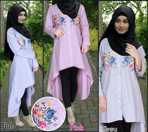 Model Baju Atasan Wanita Tunik Bordir Lengan Panjang