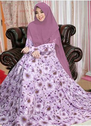 Model Baju Gamis Syari Terbaru Motif Cantik Modern