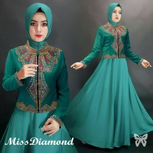 Setelan Baju Gamis Maxy Long Dress Muslim dan Blazer Cantik