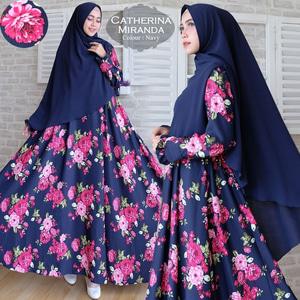 Setelan Baju Gamis Syari Motif Bunga Model Terbaru Ryn Fashion