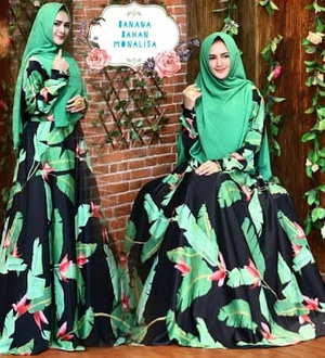 Setelan Baju Gamis Syari Motif Daun Pisang Modern