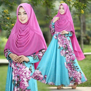 Baju Gamis Long Dress Hijab Motif Model Terbaru