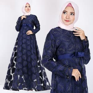 Baju Gamis Long Dress Muslim Modern Motif Daun