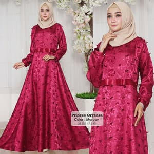 Baju Gamis Pesta Long Dress Muslim Bahan Organsa