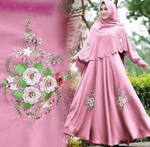 Baju Gamis Syari Setelan Jilbab Khimar Bordir Modern
