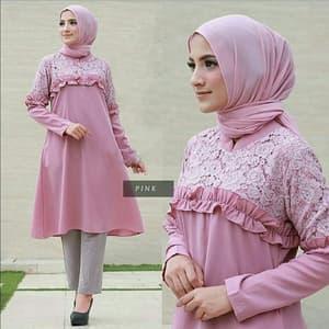 Model Baju Atasan Wanita Tunik Brukat Lengan Panjang